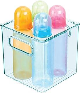 mDesign rangement chambre enfant en plastique – panier de rangement carré avec poignées pratiques – bac de rangement plast...