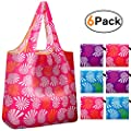 Reger Foldable Nylon Light Weight Compact Grocery Shopping Storage Bags Reusable & Mathine Washable Fits in Pocket Eco Friendly (Windmill Prints, Pack of 6)