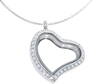 Curvy Heart Sparkle Floating Locket and Round Loop Necklace