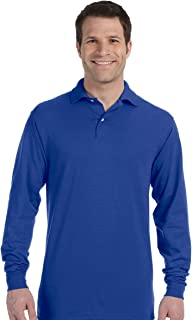 Jerzees 50/50 Long Sleeve Knit Polo with SpotShield Stain Resistance, M, Royal