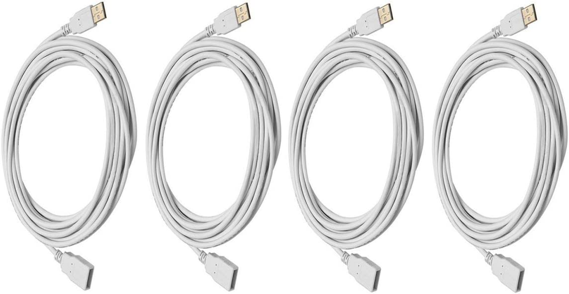 10 Feet 2 Pack USB 2.0 A Male to A Female Extension 28//24AWG Cable Gold Plated White