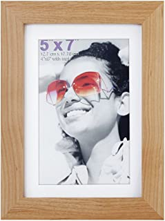 RPJC 5x7 inch Picture Frames Made of Solid Wood and High Definition Glass Display Pictures 4x6 with Mat or 5x7 Without Mat for Wall Mounting Photo Frame Natural