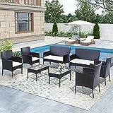 STARTOGOO 8 Pieces Rattan Furniture Set, Outdoor Wicker Patio Conversation Sofa...