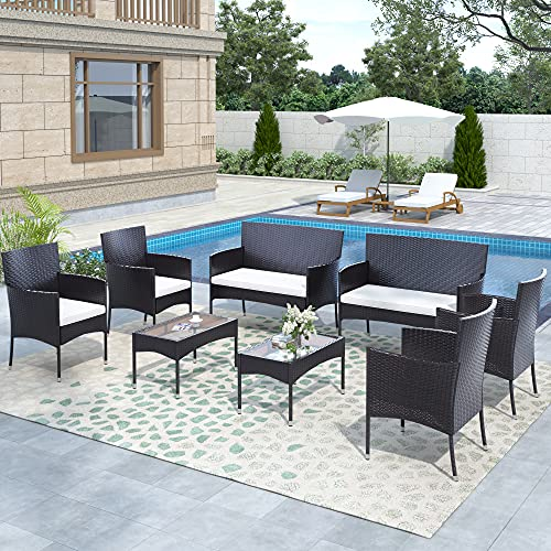 STARTOGOO 8 Pieces Rattan Furniture Set, Outdoor Wicker Patio Conversation Sofa w/Chair, Loveseat and Tempered Glass Coffee Table, Suitable Backyard Poolside Lawn Pool Garden Porch, White