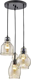 Rustic Light Fixture Suitable for Dining Room Ceilings and Kitchen Areas. Pendant Glass Chandelier Centerpiece Provides Ample Lighting. Round Indoor Hanging Lamp Set Creates Modern Farmhouse Feel.