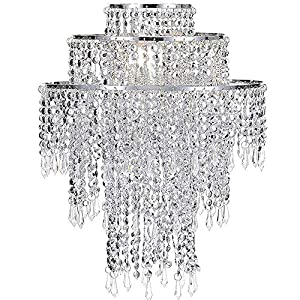 Waneway Acrylic Chandelier Shade, Ceiling Light Shade Beaded Pendant Lampshade with Crystal Beads and Chrome Frame for Bedroom, Wedding or Party Decoration, Diameter 12.6 inches, 3 Tiers, Silver