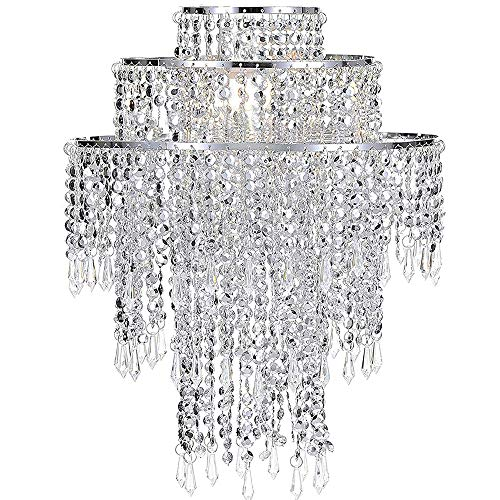 Waneway Chandelier Light Shade for Ceiling Pendant Light, Easy Fit Crystal Lamp Shade Lampshade for Bedroom, Living Room, Hallway, Wedding or Party Decoration, Diameter 32 cm, 3 Tiers, Silver