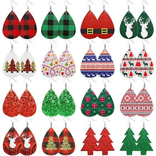 Christmas Faux Leather Earrings for Women Teardrop Dangle Earrings Plaid Petal Drop Earring Xmas Jewelry Accessory Gifts 16 Pairs (Christmas set)