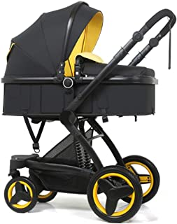 Laz Baby Stroller Bassinet,Lightweight Collapsible Portable Reclining Seat Travel Pram for Newborn,Infant Toddler, Baby Boys and Girls (Color : Yellow, Size : B)