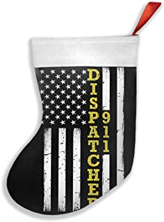 KSSChr 911 Dispatcher Thin Gold Line Flag Christmas Holiday Stocking Party Decorations Gift Bag Xmas Tree Hanging Ornament Candy Gift Bag