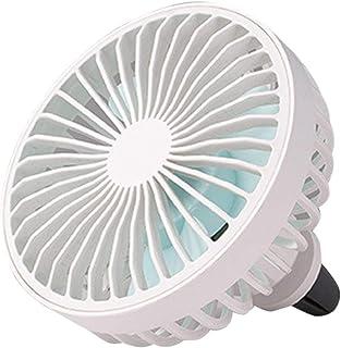 SOONHUA Ventilador de Coche Portátil Ventilación de Aire Montaje Ventilador de Refrigeración USB de 3 Velocidades con Luz de Interruptor de Control de Cable (Blanco)