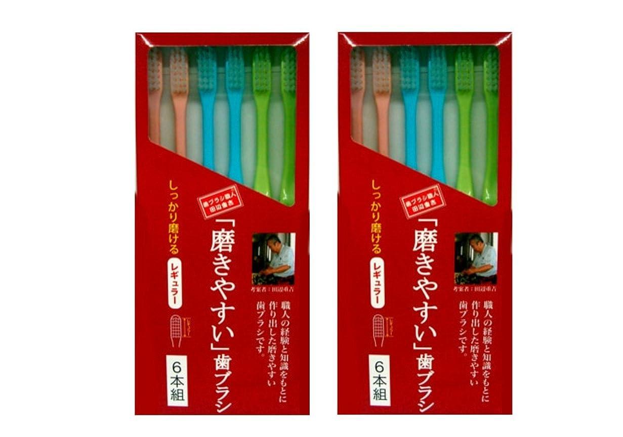 集団率直なぐるぐる磨きやすい歯ブラシ 6本組 レギュラータイプ×2個セット