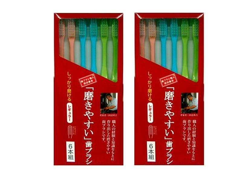 欺震える精査する磨きやすい歯ブラシ 6本組 レギュラータイプ×2個セット