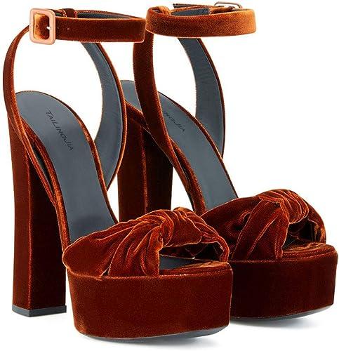 plataforma De Tacón Alto De Terciopelo Grueso De Moda Femenina Europea Y Americana con Puntera Expuesta Y Sandalias Anudadas