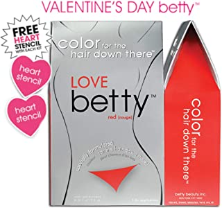 Love Betty - Hair Color for the Hair Down There Kit, Red with Heart Stencils