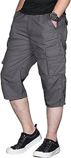 شورت رجالي طويل مرن من اكلينتسون شورت للعمل تحت الركبة سراويل من كابري فضفاضة بـ 6 جيوب