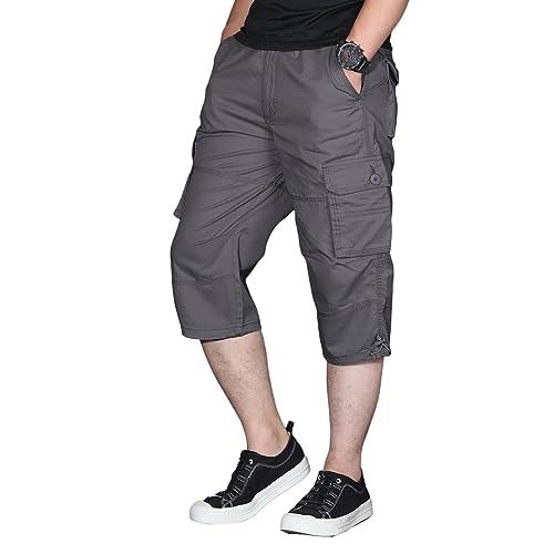 fb6f910e5a EKLENTSON Men's Long Shorts Elastic Cargo Shorts Below Knee Capri Pants  Loose Fit with 6 Pockets