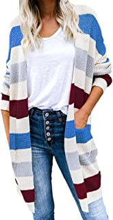 Bravetoshop Women Color Block Striped Casual Knitted Outerwear Cardigan Long Sleeve Sweater Pocket