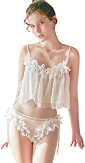 Funtisan Womens Sexy Lace 3D Floral Mesh Teddy Lingerie Set Sexy Camisole and Panty for Ladies Bridal Lingerieceria
