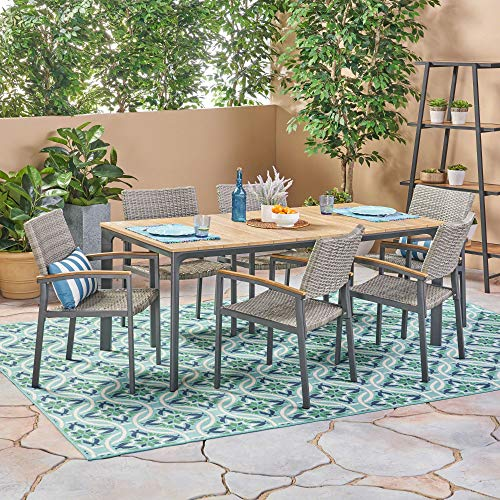 7-Piece Gray Natural Finish Contemporary Aluminum and Wicker Outdoor Furniture Patio Dining Set