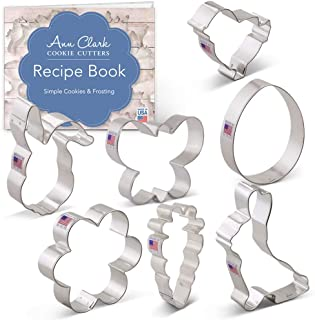 Ann Clark Cookie Cutters 7-Piece Easter Cookie Cutter Set with Recipe Booklet, Egg, Carrot, Bunny, Flower, Chick, Bunny Face and Butterfly