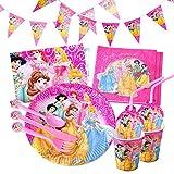 Gxhong Vajilla de Cumpleaños 91 Piezas, Vajilla de Fiesta TemÁTica de Disney Plato Taza Servilleta Cuchara Tenedor Cuchillo Mantel Banderín