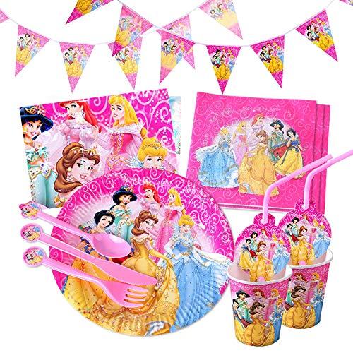 Gxhong Kindergeburtstag Geschirr Set, Prinzessin Party Supplies Set, Princess Party Dekoration liefert Teller Becher Servietten Pappteller Pappbecher für Kinder Geburtstag Mädchen