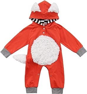 Newborn Baby Girls Boys Halloween Outfits Fox Long Sleeve Jumpsuit Bodysuit Hooded Romper Costumes 0-18M