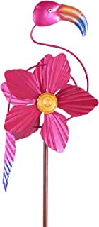 MorTime Flamingo Wind Spinner Garden Stake, 40 Inch Metal Pink Flower Flamingo Windmill Outdoor Decorative Flamingo Wind S...