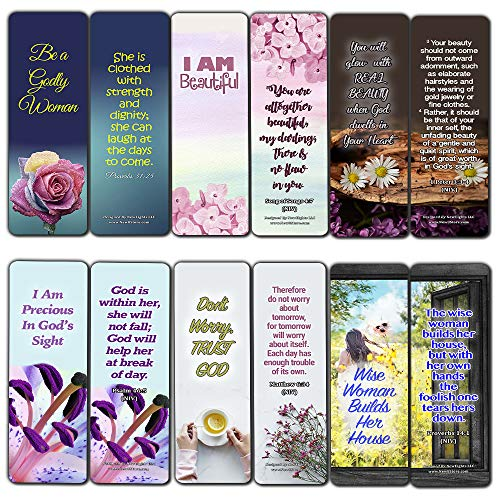 Devotional Bible Verses for Women Bookmarks (30 Pack) - Handy Life Changing Bible Texts and Quotes That are Very Uplifting Perfect for Daily Devotional for Women