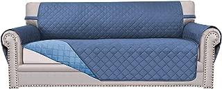 Easy-Going Sofa Slipcover Reversible Sofa Cover Furniture Protector Couch Cover Elastic Straps PetsKidsChildrenDogCat(Oversized Sofa,Dark Blue/Light Blue)