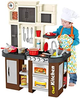 Hli-SHJHsmu Stylish Kitchen with Window Running Water Sounds of Kitchen Window Kitchen Table with Light Voice Suits Kitchen Playset