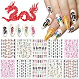 Kalolary 10pcs Dragon Nail Art pegatinas, 3D Calcomanías Autoadhesivas para Uñas Dragon Collection Nail Art Transferir Pegatinas para las Mujeres Decoración de Uñas