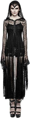Dark Dreams Gothic Steampunk Hexe Cobweb Spinnennetz Mantel Kleid Cadis Punk Rave Kapuze Vampir Witchy Schwarz36 38 40 42 44 Tarantula Top, Größe XL XXL