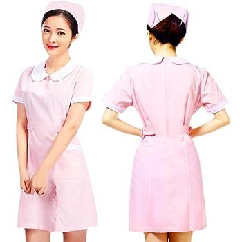 minette earth 看護師 コスプレ 衣装 ピンク 半袖 ナース 服 ナース帽 ヘアピン 3点セット (丸襟 XXL)