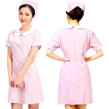 minette earth 看護師 コスプレ 衣装 ピンク 半袖 ナース 服 ナース帽 ヘアピン 3点セット (丸襟 L)