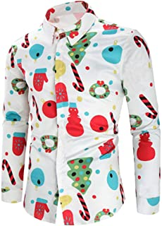 iZHH t Shirt for Men Christmas Party Button Long Sleeve Blouse Xmas Funny 3D Top