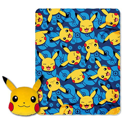 Pokémon, 'Choose Pika' 16-Inch Applique Big Face Character Pillow and 40' x 50' Fleece Throw in Pocket Set, Multi Color