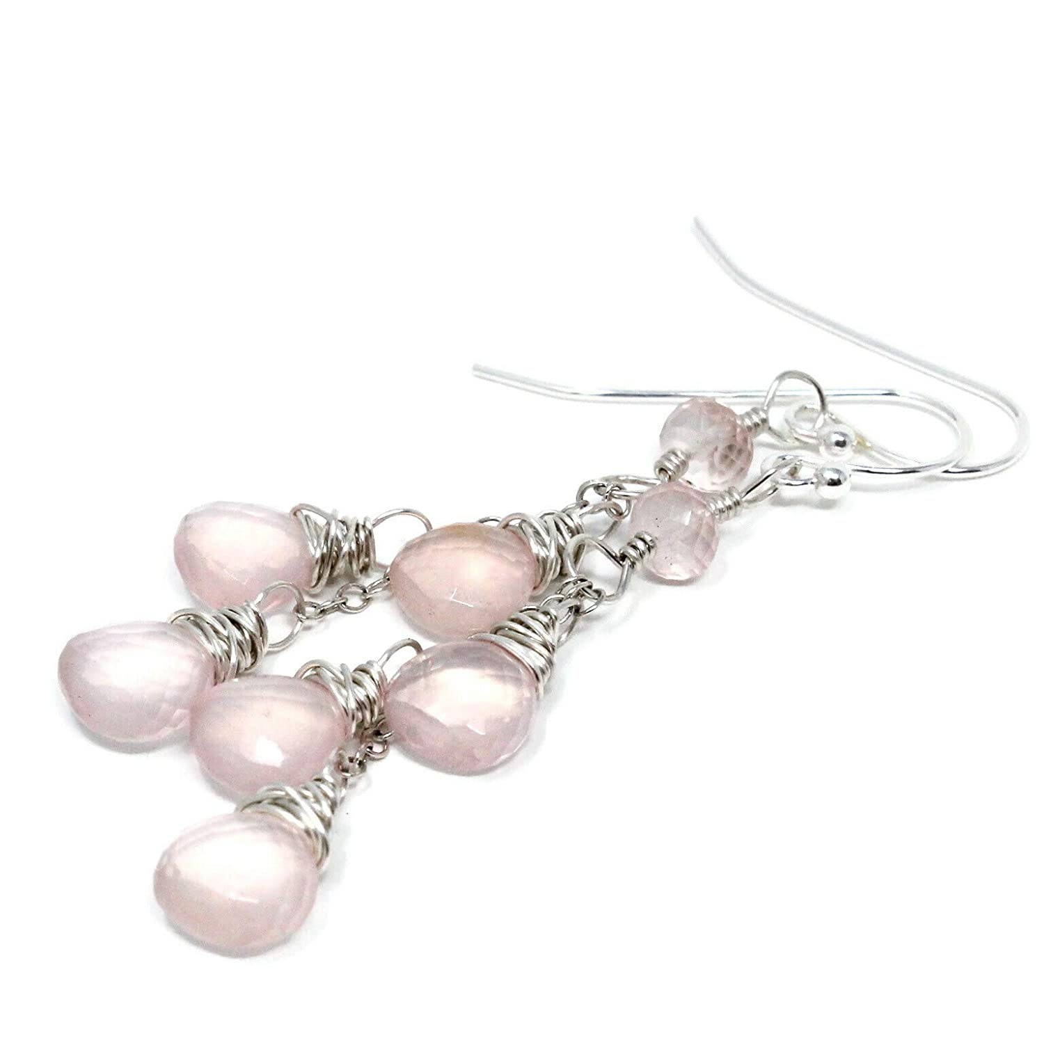 Rose Sales of SALE items from new works Quartz ! Super beauty product restock quality top! Earrings Dangle Pale Pink Briolettes Sterl Waterfall