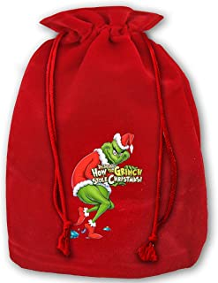 Santa Gift Bags Opener Grinch X'Mas Red Gift Bags for Kids Presents Xmas for Personalization