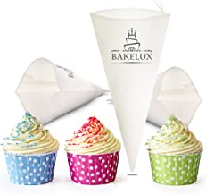 14-Inch Pastry Bags (3 Pack) - BakeLux Commercial Grade Reusable Cotton Icing Bags Set - Featherweight Piping Tips Bags - Duyas Reposteria - Professional Cake Decorating Baking Kit Tools Supplies