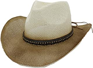 Sun Hat for men and women Men Women Spray Paint Straw Cowboy Hat Outdoor Beach Hat Belt Diamond Decoration Sun Hat Sunbonnet