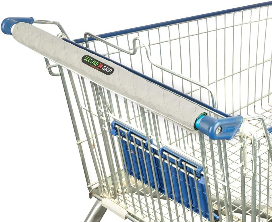 Secure Grip Grocery Cart Handle Cover, Pack of 2 | Hygienic Quilted Protector for Shopping (Light Grey), Extra Padded & Non-Slip Backing, Non-Sharp Velcro Patch, Machine Washable, 19.5