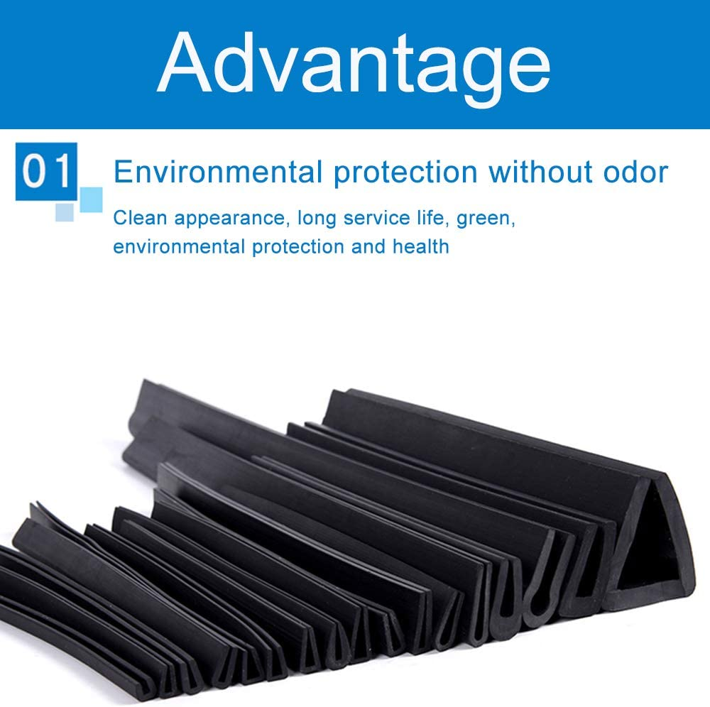 JKGHK Rubber U Channel Protective Trim Can be Used to Dustproof Prevent Leakage 16mm x 10mm,3 Meters