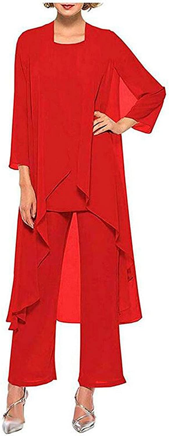 3 PC Chiffon Mother of The Bride Pants Suits with Long Jacket Plus Size Women Outfits Wedding Party Dress