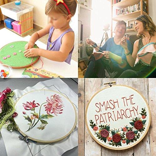KINGSO Full Range of Embroidery Starter Kit Cross Stitch Tool Kit Including 5 Pcs Plastic Embroidery...