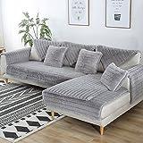 FDJKGFHGFCGDFGDG Volle Deckung schonbezug Sofa,Winter Anti-rutsch plüsch sofabezug Rückenlehne zu Decken Moderne schlichtheit Couch abdeckungen Sofabezug für Wohnzimmer -Grau 70x150cm(28x59inch)