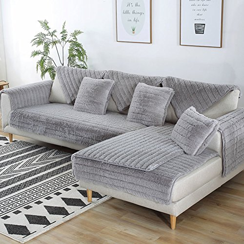 FDJKGFHGFCGDFGDG Volle Deckung schonbezug Sofa,Winter Anti-rutsch plüsch sofabezug Rückenlehne zu Decken Moderne schlichtheit Couch abdeckungen Sofabezug für Wohnzimmer -Grau 90x160cm(35x63inch)