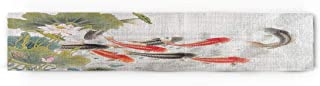 Fandim Fly Traditional Japanese Style with Koi Fish Lotus Flowers Folk Modern Design Cotton Table Runner Decorative - Holiday Table Setting Decor Single Layer 16x72inch