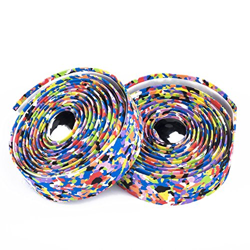 Weanas Vex Gel Supersuede Bike Bicycle Handle Bar Tape Wraps with Bar Plugs (Mixed-Color)